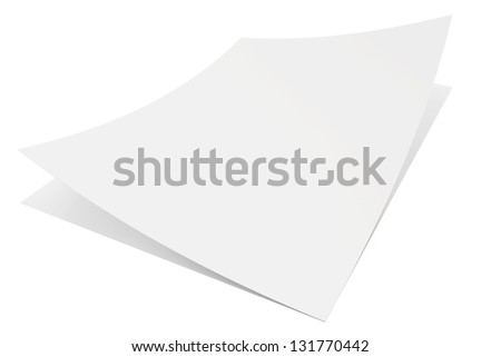 two blank white paper isolated on white background