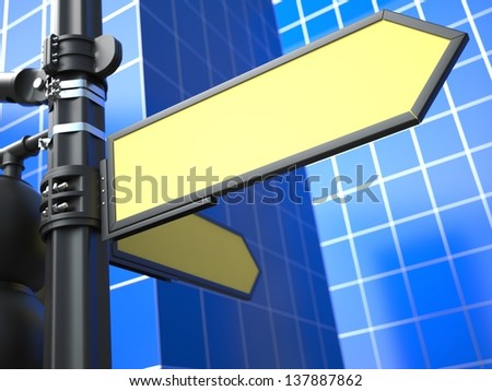 Two Blank Yellow Arrow Raodsign on Blue Background for Your Advertisement. - stock photo