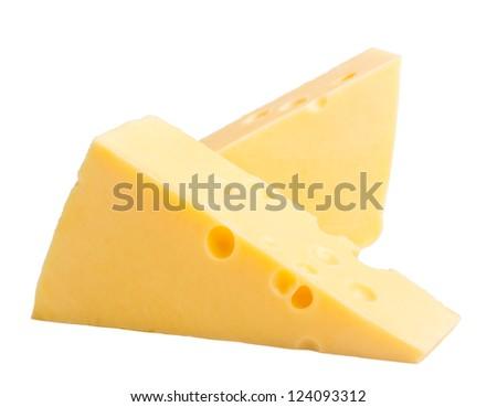 two blocks of cheese on white - stock photo