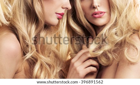 Two blonde beauties - stock photo