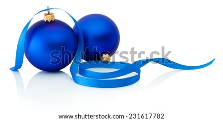 Two blue christmas balls and ribbon Isolated on white background - stock photo