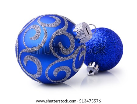 Two blue Christmas balls isolated on white background