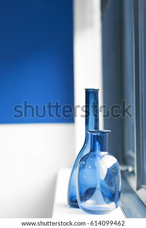 Two Blue Decorative Vases On White Stock Photo 614099462 Shutterstock