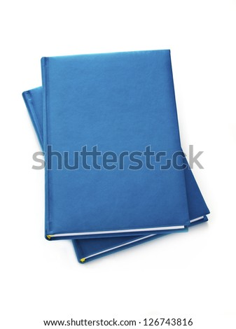 Two blue diary isolated on white background - stock photo