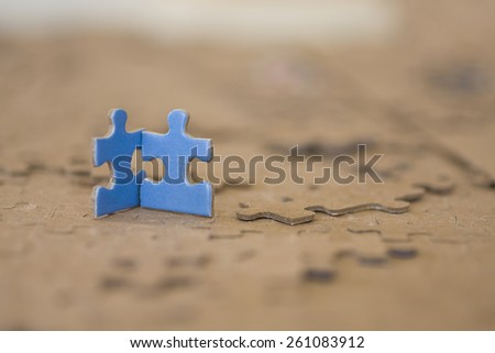 Two Blue Puzzle Pieces - stock photo