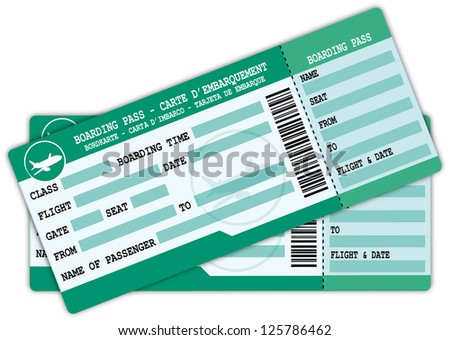 Two boarding passes. Green and blue flight coupons illustration. - stock photo