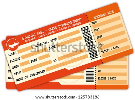 Two boarding passes. Red and orange flight coupons illustration. - stock photo