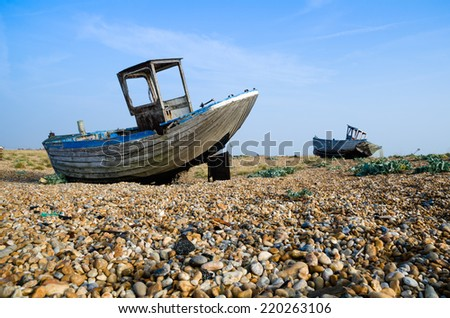 Two boat wrecks at Dungeness in Kent