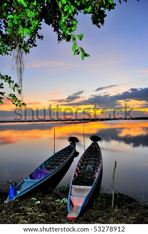 Two boats in the Ta Le Noi, South of Thailand - stock photo