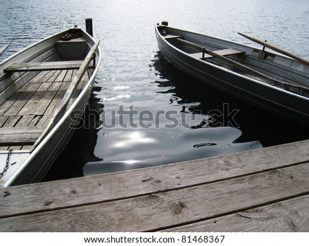 two boats on the lake - stock photo