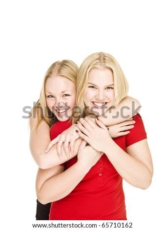 Two bonding Girls isolated on white background - stock photo