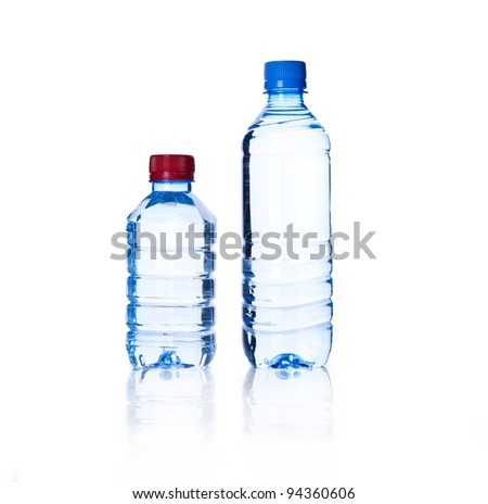 two Bottled water over a white background
