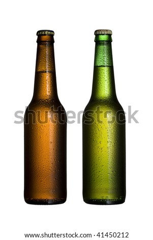 Two bottles of beer - stock photo