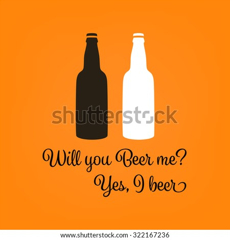 Two bottles of beer illustration. Funny beer poster for pub and bar and party. - stock photo