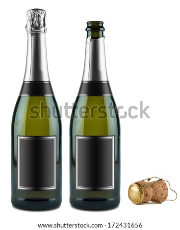 two bottles of champagne and cork