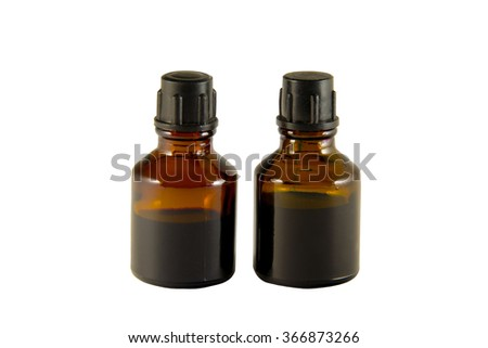 Two bottles of iodine and brilliant green isolated on white background