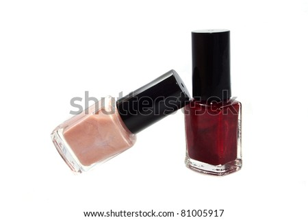 Two bottles of nail polish isolated on white