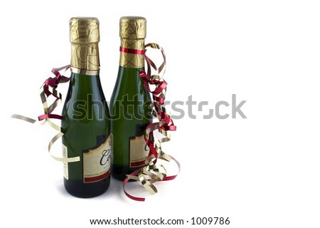 two bottles of sparkling wine, isolated image - stock photo