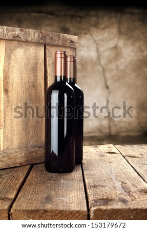 two bottles of wine  - stock photo