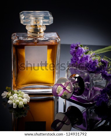Two bottles with perfume - stock photo