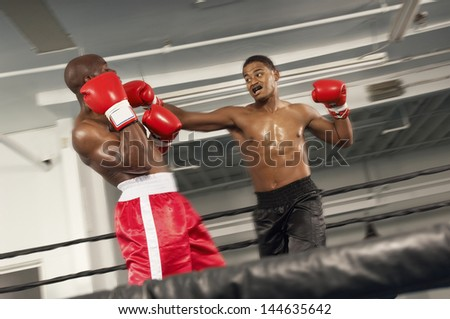 Two boxers fighting in ring - stock photo