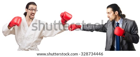 Two boxers isolated on the white - stock photo