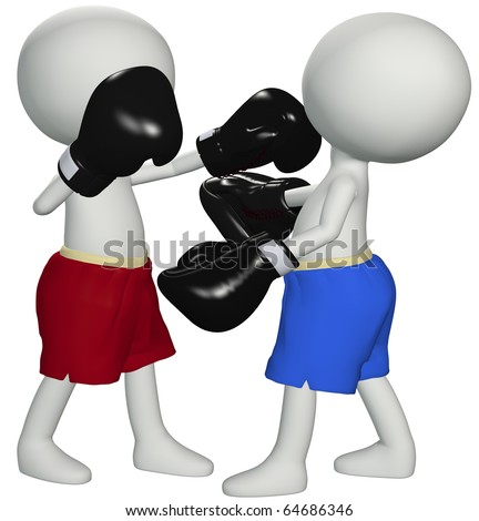Two boxers square off in a championship boxing match prize fight - stock photo