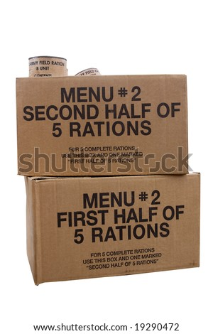 Two boxes of rations of the type used by the army in the Second World War