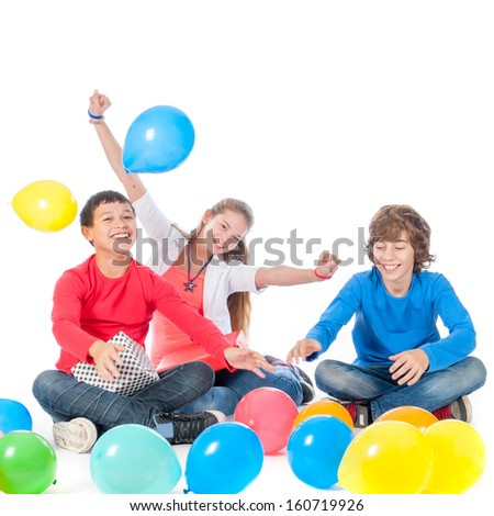 two boys and a girl, having a party with presents and balloons on a white background