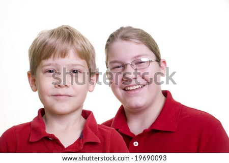 Two boys  on white
