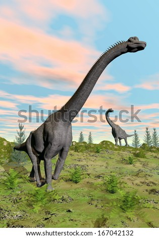 Two brachiosaurus dinosaurs in nature with green grass by colorful sunset - stock photo