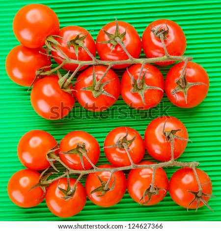 Two branches of red tomatoes on green tablecloth. - stock photo