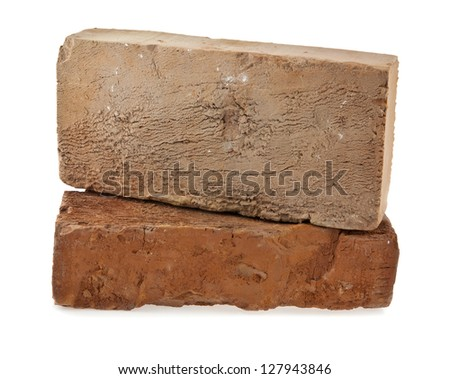two bricks on a white background - stock photo