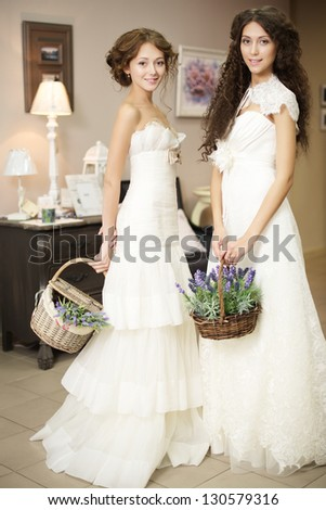 two brides - stock photo