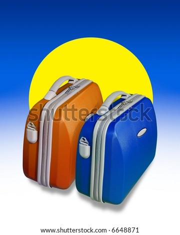 Two bright colored suitcases on a background of blue with a big yellow sun shape