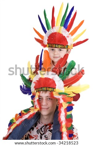 Two brother in indian costume. Isolated.