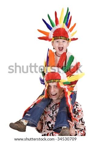 Two brother in indian costume. Isolated. - stock photo
