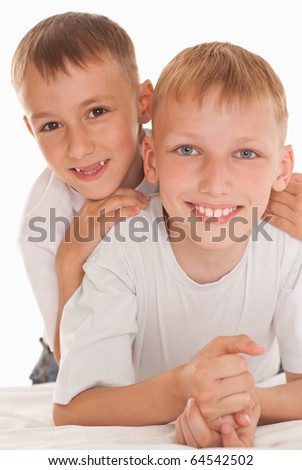 two brothers on a white background