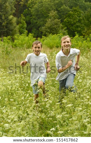 Two brothers running in nature - stock photo