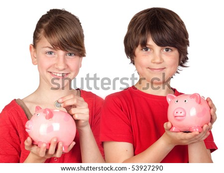 Two brothers with money-box isolated on white background - stock photo