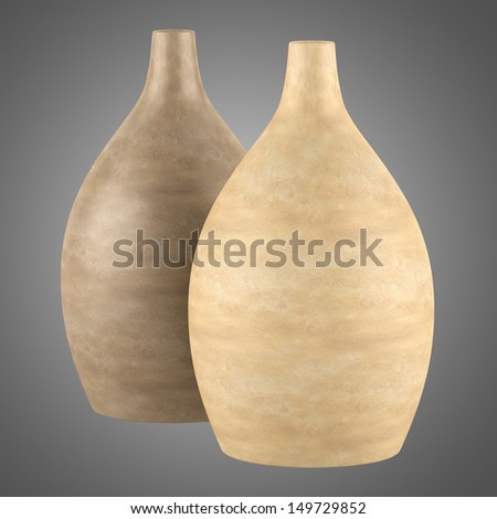two brown ceramic vases isolated on gray background
