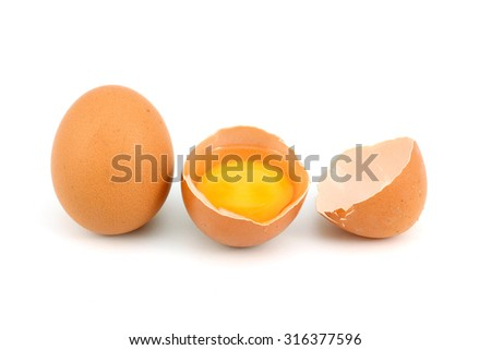 Two brown chicken eggs on a white background - stock photo