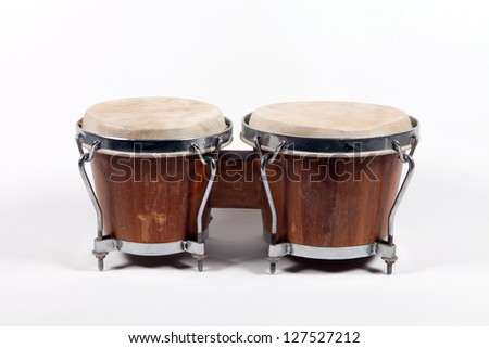 Two brown drums isolated on white background - stock photo
