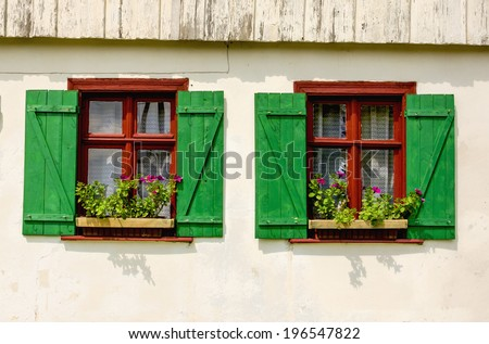 Two brown windows with green shutters and purple flowers in wooden white rural house, Europe - stock photo