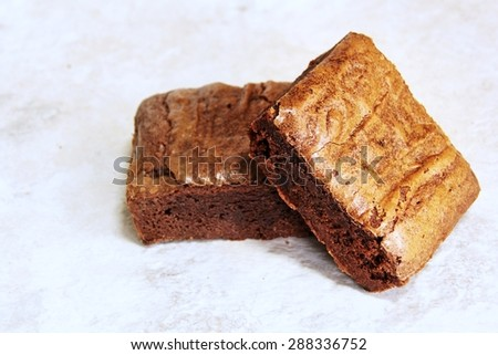 Two brownies, selective focus