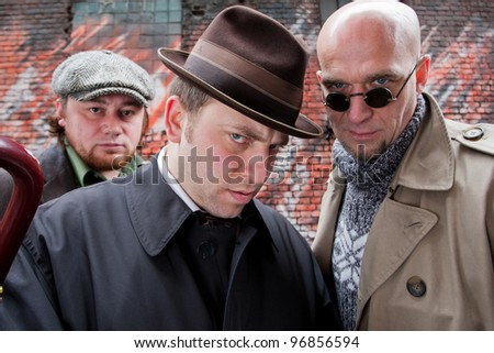 Two brutal men - stock photo