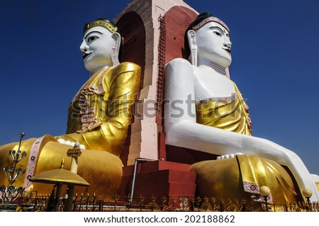 two buddha figures at KYAIK PUN PAYA, Bago, Myanmar (burma) - stock photo