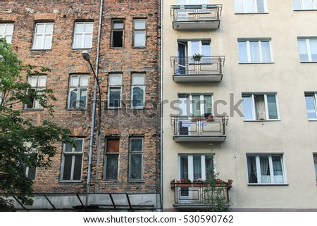 Two buildings in different styles, Warsaw, Poland