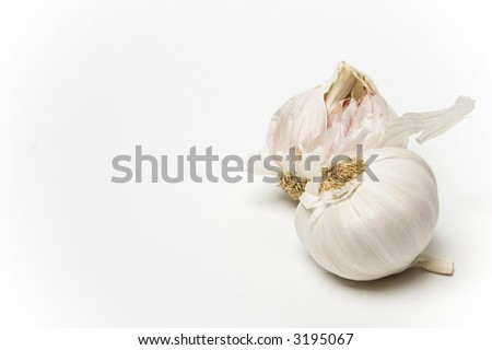Two bulbs of garlic shot against a white background - stock photo