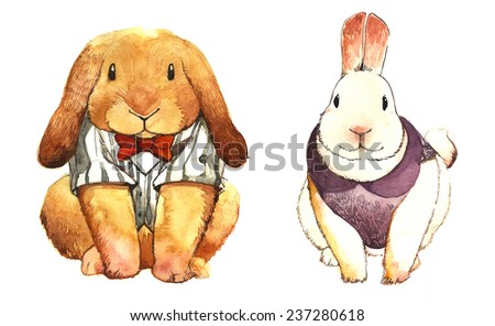 Two Bunnies in costumes.Watercolor Painting.Hand-drawing.Illustration.  sc 1 st  Shutterstock & Two Bunnies Costumes Watercolor Painting Handdrawing Illustration ...